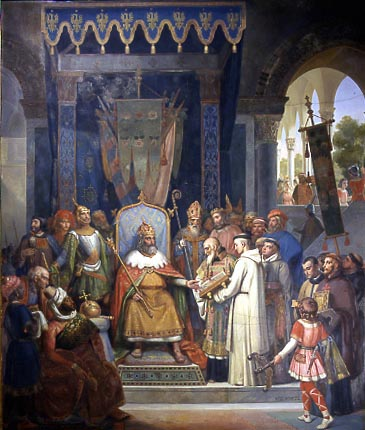 Emperor Charlemagne surrounded by his officers receiving Alcuin, who is presenting manuscripts made by his Monks Painted by Victor Schnetz