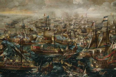 The Battle of Lepanto, painting by Andries van Eertvelt