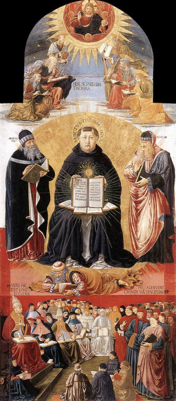 St Thomas Aquinas, between Plato and Aristotle