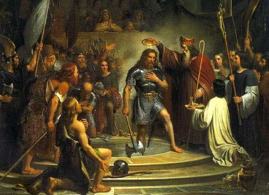 the belief of gregory of tours in the catholic church and the impact of the conversion of clovis to  Emperor who made christianity the roman religion eastern church 732 battle of tours 742 charlemagne the church by the recognition of the catholic.