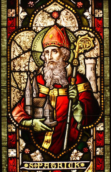 Saint Patrick stained glass window from Cathedral of Christ the Light, Oakland, CA. Photo by Sicarr.