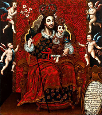 St. Joseph and the Christ Child Enthroned with Four Angels, c. 1700-1740, School of Cuzco