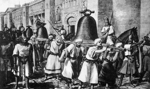 When Al-Mamsur conquered Santiago de Compostela and razed its church, he forced the Catholics to carry the large church bells to Cordoba, his capital. Years later, St. Ferdinand re-conquered Cordoba and obliged the Moslems to return the same bells to Compostella.
