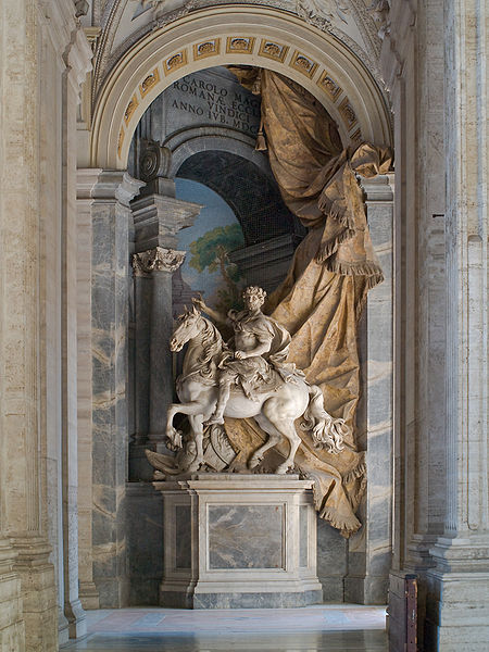 Monumental equestrian statue of Charlemagne, by Agostino Cornacchini (1725) — St. Peter's Basilica, Vatican. Photo by Myrabella.
