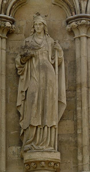 Statue of St Etheldreda on the West Front of Salisbury Cathedral, UK.