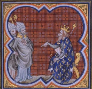Saint Gal of Clermont was the uncle and teacher of Saint Gregory of Tours, shown here conferring with King Chilpéric
