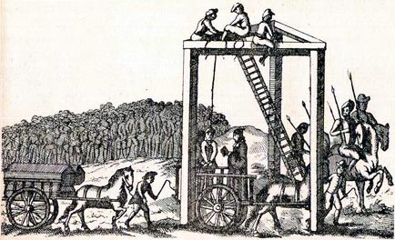 This is an illustration, said to be from about 1680, of the permanent gallows at Tyburn, which once stood where Marble Arch now stands. There was a three-mile cart ride in public from Newgate prison to the gallows, with large spectator stands lined along the way, so many people could see the hangings (for a fee). Huge crowds collected on the way and followed the accused to Tyburn.