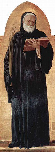 Saint Benedict of Nursia from Saint Lucas altarpiece. Painted by Andrea Mantegna