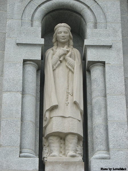 Statue of St. Kateri Tekakwitha on the outside of the Basilica of Sainte-Anne-de-Beaupré, Canada.