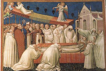 The Death of St. Benedict. A scene from Stories from the Legend of St Benedict by Spinello Aretino.