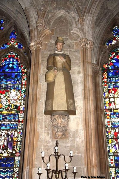 Nave statue St Margaret Ward inside St Etheldreda Church in Ely Place, London.