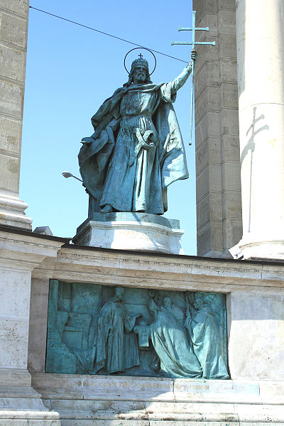 Statue of Stephen I of Hungary - Stephen I of Hungary, Millenium Monument on Heroes' square, Budapest, Hungary.