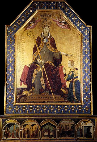 The St. Louis of Toulouse, his brother Robert of Anjou is crowned King of Naples, predella with scenes from the saint's life by Simone Martini.