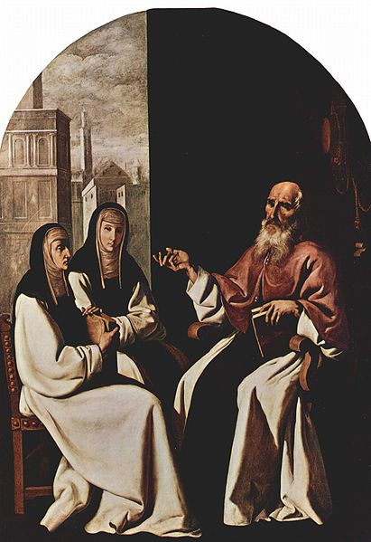 St Jerome with St Paula Romana and her daughter, St. Eustochium. Painted by Francisco de Zurbarán