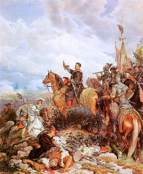 John Sobieski III, King of Poland before his army.