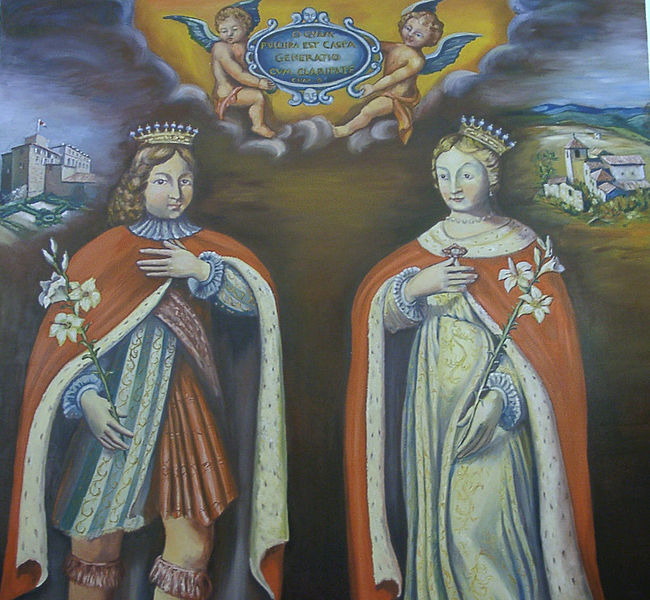 Painting of St. Elzéar and St. Delphine, in the choir of the Church of Puimichel.