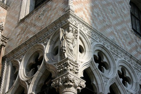 St. Gabriel, statue at the corner of The Doge's Palace in Venice, next to Porta della Carta. Photo by G.dallorto