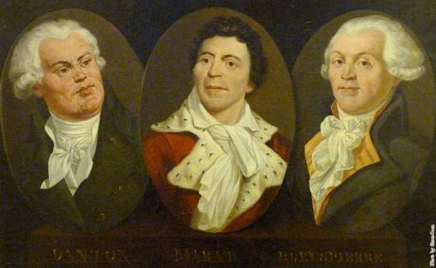 Georges Jacques Danton, Jean-Paul Marat & Maximilien de Robespierre, three French Revolutionary leaders.