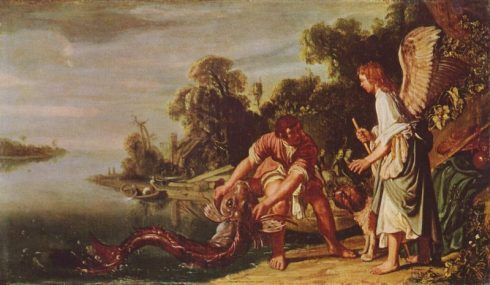 St. Raphael and Tobias catching the fish. Painting by Pieter Lastman