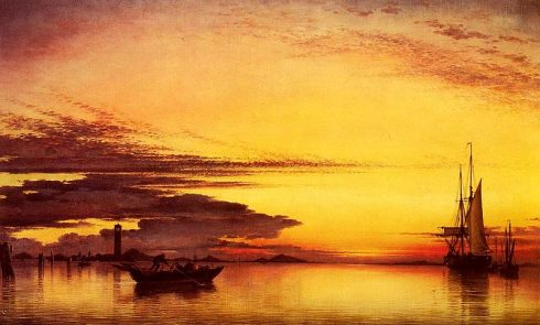 Sunset on the Lagune of Venice - San Georgio in Alga and the Euganean Hills in the Distance. Painting by Edward William Cooke