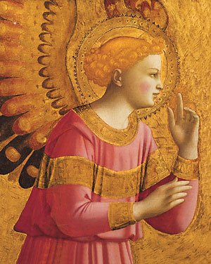 Detail of the painting by Blessed Fra Angelico of the Archangel Gabriel.