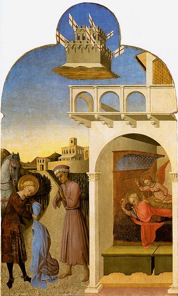 Saint Francis meets a Knight Poorer than Himself and Saint Francis's Vision of the Founding of the Franciscan Order. Painting by Sassetta