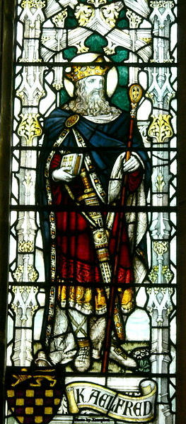 A Stained glass window of St. Alfred in Chester, England.