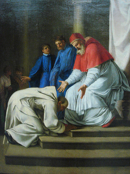 St. Bruno at the feet of Pope Urban II. Painting by Eustache Le Sueur