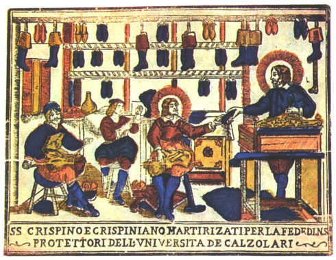 Saints Crispin and Crispinian, patron of shoemakers in a print of the eighteenth-century printers' Remondini of Bassano, Italy