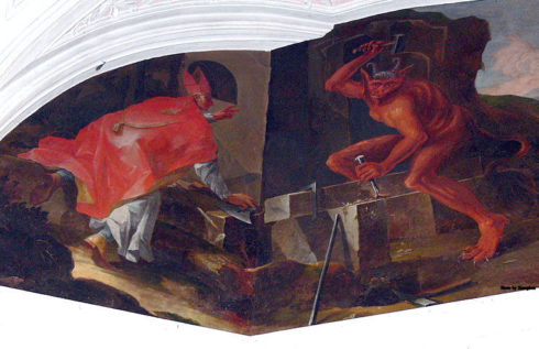 Sankt Wolfgang im Salzkammergut parish church ( Upper Austria ). Saint Wolfgang´s chapel: Fresco at the ceiling - Saint Wolfgang making the devil build a church.