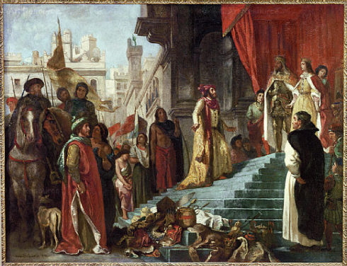 The return of Christopher Columbus; his audience before King Ferdinand and Queen Isabella. Painting by Eugene Delacroix