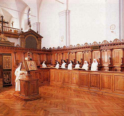 Liturgy of the hours in a monastery of Carthusian nuns