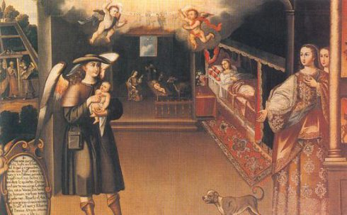 Birth of St. Francis painted by Basilio Pacheco de Santa Cruz Pumacallao