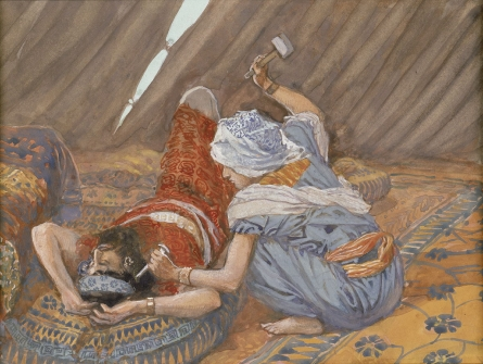 Jael driving a tent peg through the head of Sisera and into the ground.