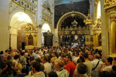 Interior of the Basilica of Jasna Gora. Behind the rod iron gate lies the Image of Our Lady of Czestochowa.