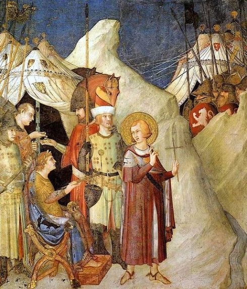 St Martin leaves the life of chivalry and renounces the army (fresco by Simone Martini)