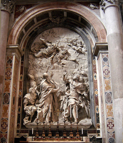 The Meeting of Pope St. Leo I and Attila, marble relief by Alessandro ALgardi, Saint Peter's Basilica