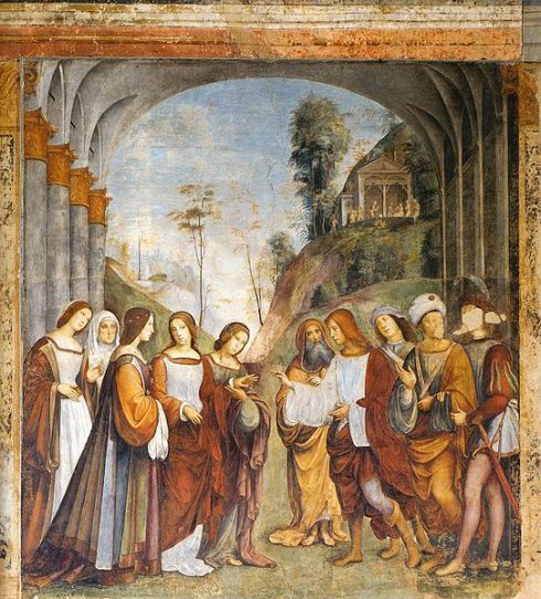 """The Marriage of St. Cecilia and Valerian"" Fresco by Francesco Francia at the Oratorio di Santa Cecilia, Bologna"