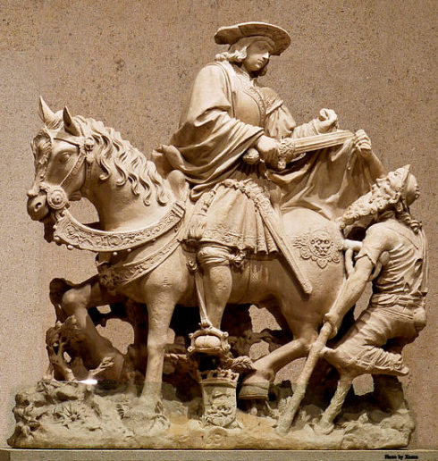 Museum Calouste Gulbenkian, Lisbon, Portugal. Saint Martin on horseback sharing his cloak with a begger. France, Loire Valley, 1531. Limestone.