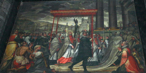 """Saint Charles goes in procession with the Holy Nail"", Painting by Giovanni Dall'Orto"
