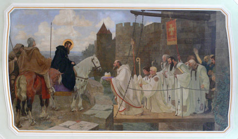 St. Martin being presented the Bishop's hat. Painting by Gebhard Fugel