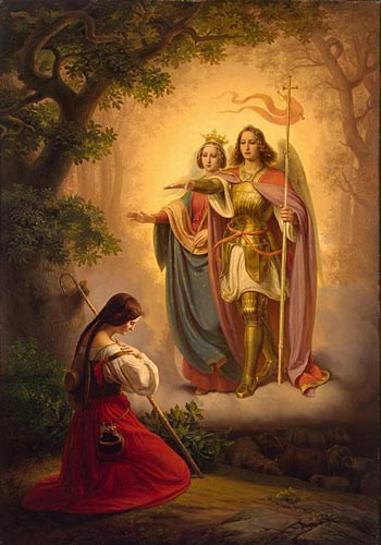 Apparition of St. Michael Archangel and St. Catherine to St. Joan of Arc. Painting by Hermann Anton Stilke