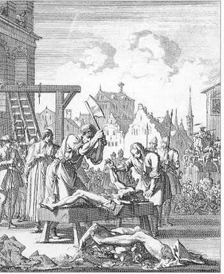 Hanged, drawn and quartered. Many of the English, by order of Elizabeth I, were martyred this way.