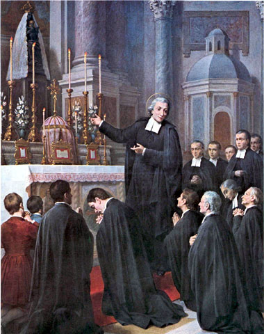 In June 1686, St. John Baptist de la Salle and twelve Brothers went to the shrine of Our Lady of Liesse to renew their vow of obedience. Painting by Giovanni Gagliardi, 1901