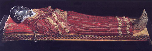 The Incorrupt remains of St. Lucy in the Church of San Geremia, Venice. Her head is at the Cathedral in Bourges.