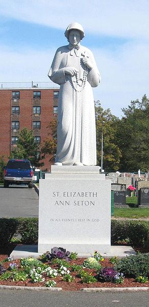 Statue of St. Elizabeth Ann Seton in Saint Raymond's Cemetery in Bronx.