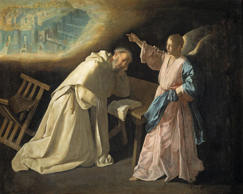 St. Pedro Nolasco has a vision of Jerusalem. Painting by Francisco de Zurbarán