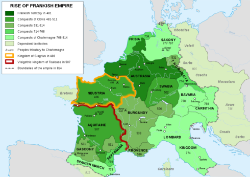 Map of the rise of Frankish Empire, from 481 to 814, by Sémhur