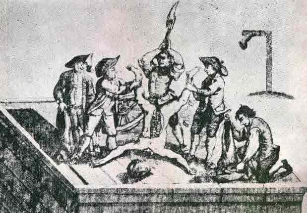 His death sentence, which was to be hung, drawn and quartered.