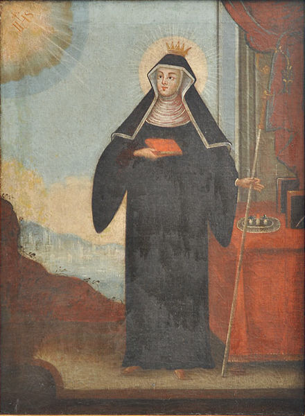 His daughter, St. Walburga, who became abbess of the monastery founded by her brother St. Willibald. The little vials represent the collected oil that secretes from her bones.